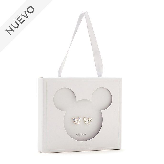 Pendientes de botón piedra natalicia, abril, Mickey Mouse, Disney Store