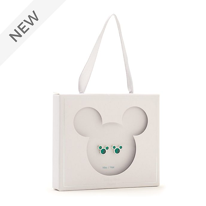 Disney Store Mickey Mouse May Birthstone Stud Earrings