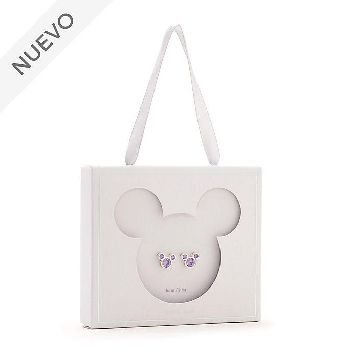 Pendientes de botón piedra natalicia, junio, Mickey Mouse, Disney Store