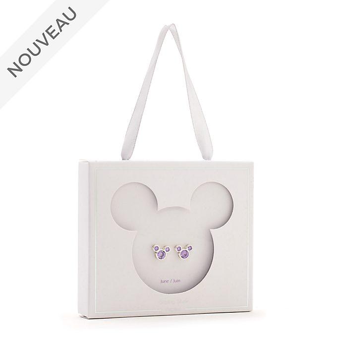 Disney Store Clous d'oreilles Mickey avec pierre de juin
