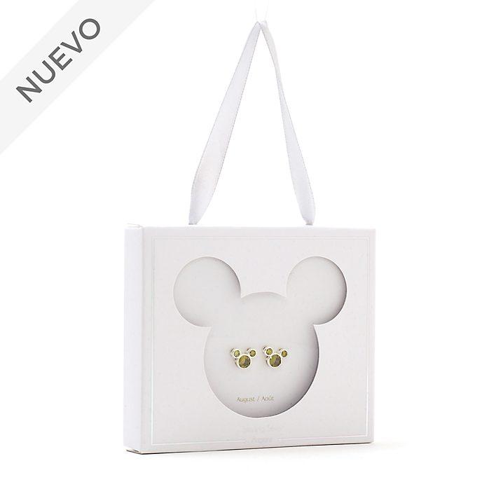 Pendientes de botón piedra natalicia, agosto, Mickey Mouse, Disney Store