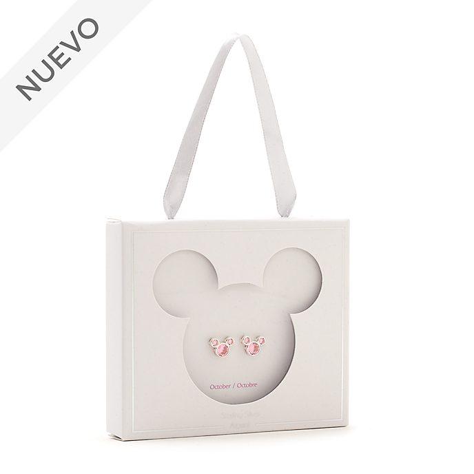 Pendientes de botón piedra natalicia, octubre, Mickey Mouse, Disney Store