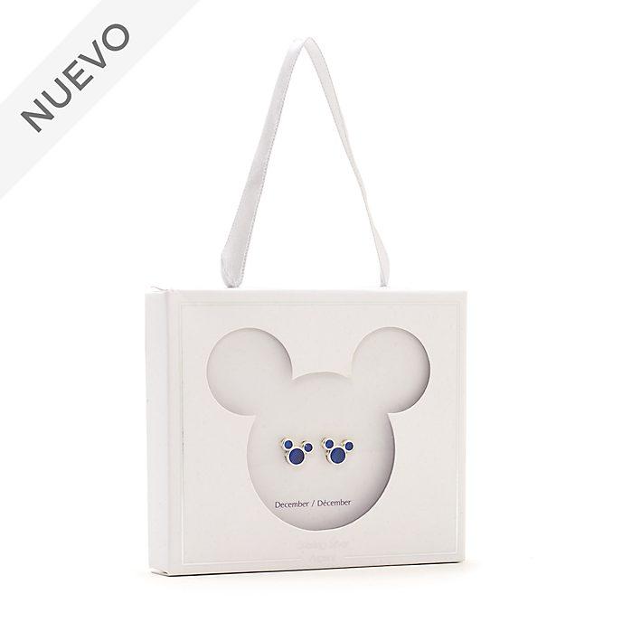 Pendientes de botón piedra natalicia, diciembre, Mickey Mouse, Disney Store