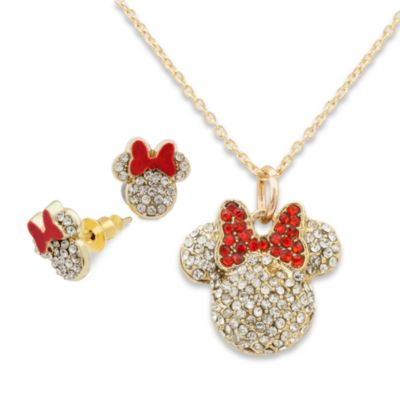 Minnie Mouse Necklace And Earrings
