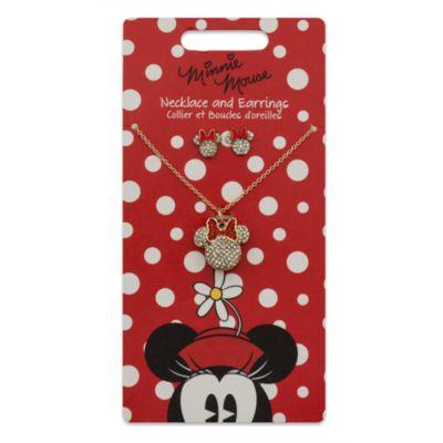 Minnie Mouse-halskæde og -øreclips