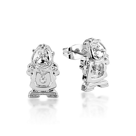 Disney Couture White Gold-Plated Cogsworth Earrings, Beauty and the Beast