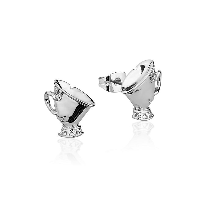 Couture Kingdom Chip White Gold-Plated Earrings, Beauty and the Beast