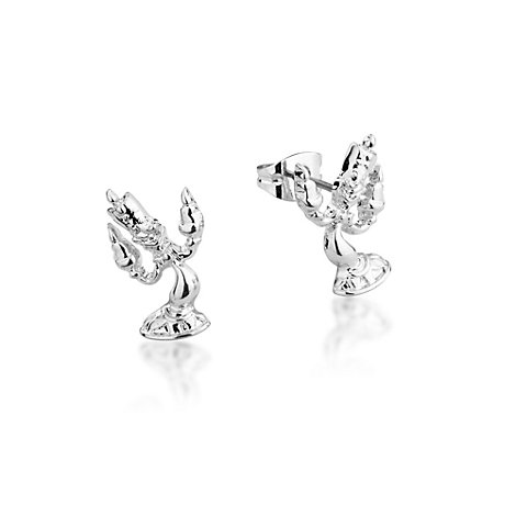 Disney Couture Lumiere White Gold-Plated Earrings, Beauty and the Beast