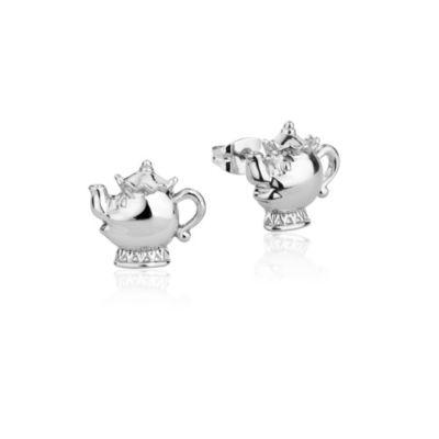 Pendientes de tuerca chapados en oro blanco de la Sra. Potts, La Bella y la Bestia, colección Disney Couture