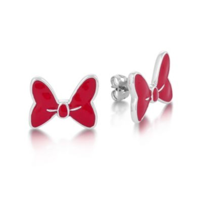 Boucles d'oreilles en plaqué or blanc en forme de noeud Disney Couture, Minnie Mouse