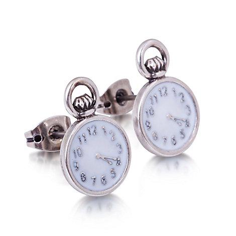 Orecchini placcati oro bianco con orologio Alice nel Paese delle Meraviglie Couture Kingdom