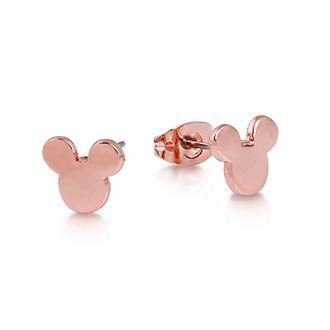 Pendientes de tuerca chapados en oro rosa de la cabeza de Mickey Mouse, Disney Couture, Disney Store