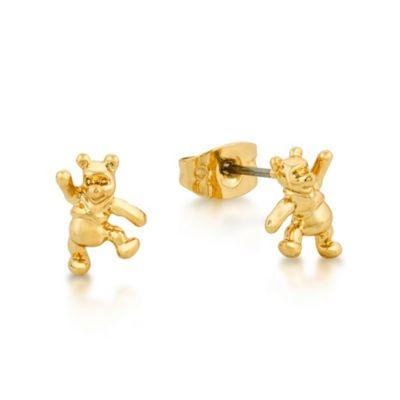 Pendientes de tuerca chapados en oro blanco de Winnie the Pooh, colección Disney Couture