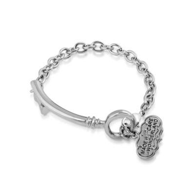 Disney Couture Alice i Underlandet vitguldspläterat armband med nyckel