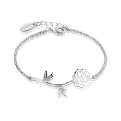 Pulsera chapada en oro blanco de la rosa encantada de La Bella y la Bestia, colección Disney Couture