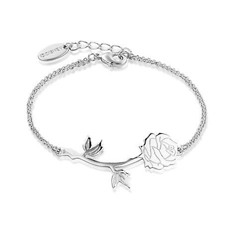 Disney Couture Skönheten och Odjuret vitguldspläterat armband med förtrollad ros