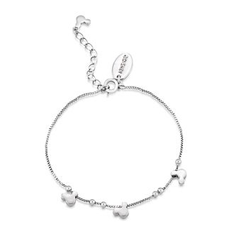 Couture Kingdom White Gold-Plated Mickey and Minnie Mouse Bracelet