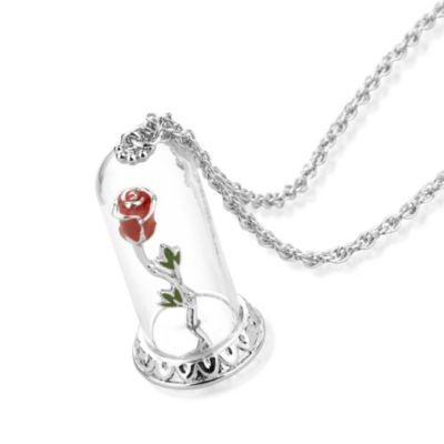 Disney Couture Skönheten och Odjuret vitguldspläterat halsband med förtrollad ros