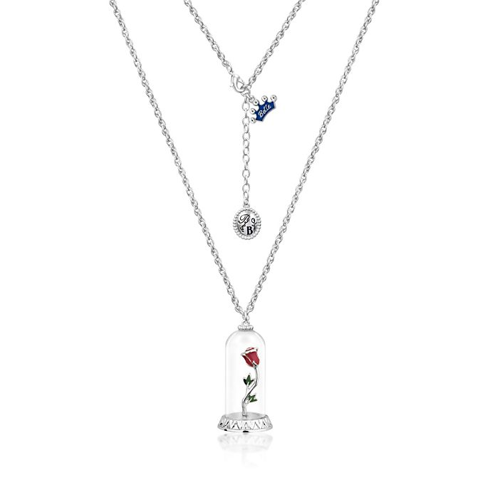 Disney Couture Beauty and the Beast White Gold-Plated Enchanted Rose Necklace
