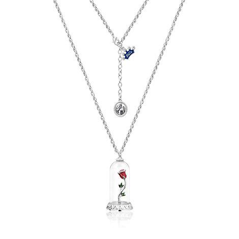 Disney Couture den fortryllede rose halskæde belagt med hvidguld, Skønheden og Udyret