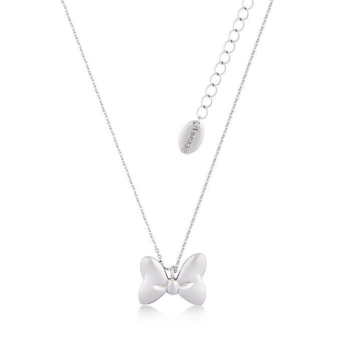 Collier en plaqué or blanc représentant le noeud classique de Minnie Mouse Couture Kingdom