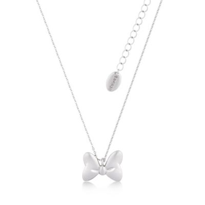 Disney Couture Minnie Mouse halskæde med den klassiske sløjfe belagt med hvidguld