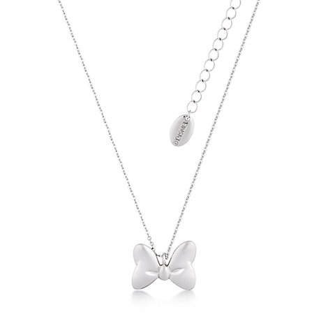 Disney Couture - Minnie Maus - mit Weißgold plattierte Halskette mit klassischem Schleifenanhänger