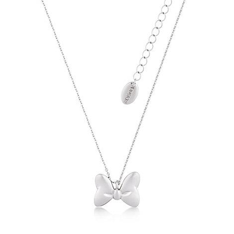 Collar chapado en oro blanco con la forma del clásico lazo de Minnie, colección Disney Couture
