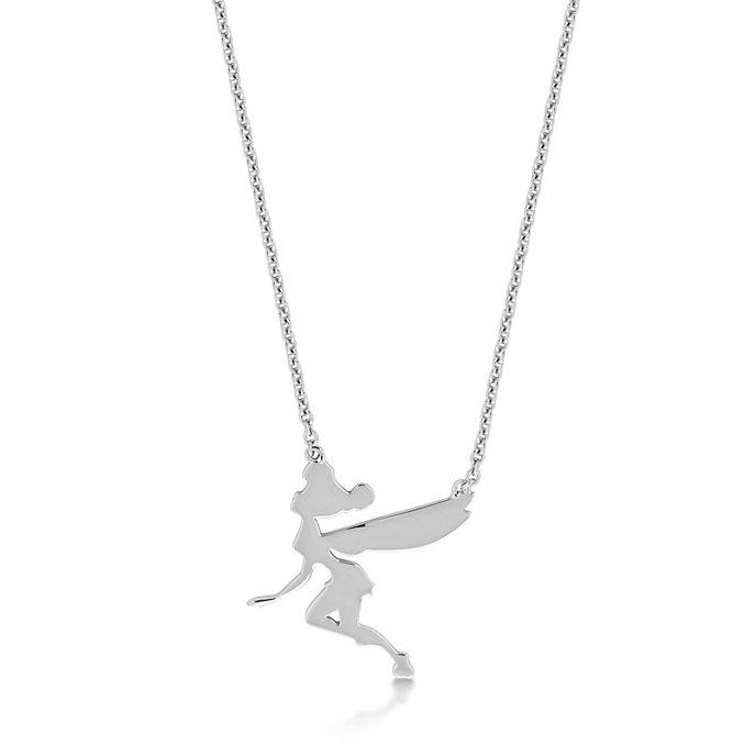 Collier en plaqué or blanc en forme de silhouette de la Fée Clochette volant Disney Couture