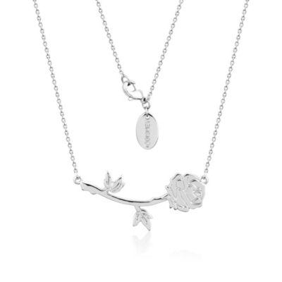 Collar chapado en oro blanco de la rosa encantada de La Bella y la Bestia, colección Couture Kingdom