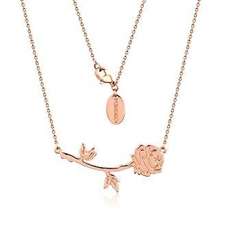 Collar chapado en oro rosa de la rosa encantada de La Bella y la Bestia, Disney Couture