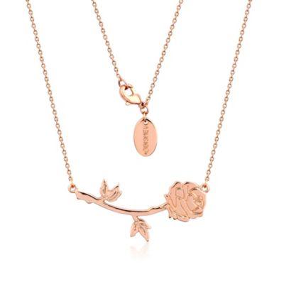Collar chapado en oro rosa de la rosa encantada de La Bella y la Bestia, colección Disney Couture