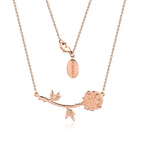 Disney Couture Beauty and The Beast Rose Gold-Plated Rose Necklace