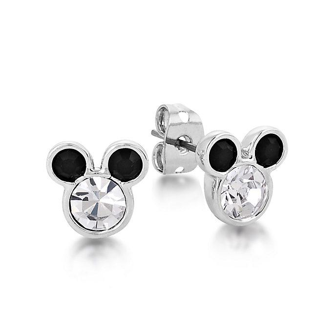 Pendientes Couture Kingdom chapados en oro blanco, Mickey Mouse