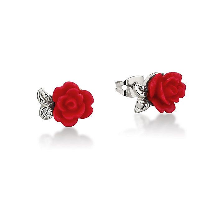 Boucles d'oreilles plaquées en or blanc Rose enchantée Couture Kingdom