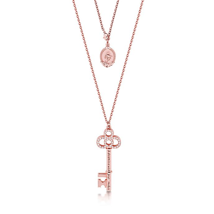 Couture Kingdom Key Rose Gold-Plated Necklace, Cinderella