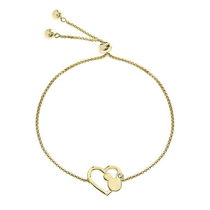 Pulsera deslizante bañada en oro corazón, Mickey Mouse