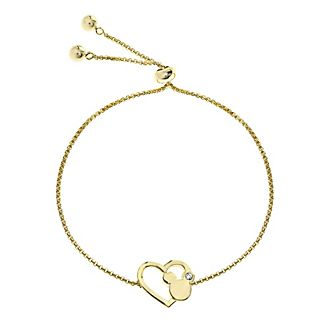 Mickey Mouse Heart Slider Gold-Plated Bracelet