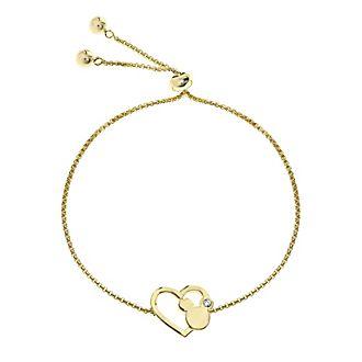 Micky Maus - Vergoldetes Armband mit Herz-Schiebeperle