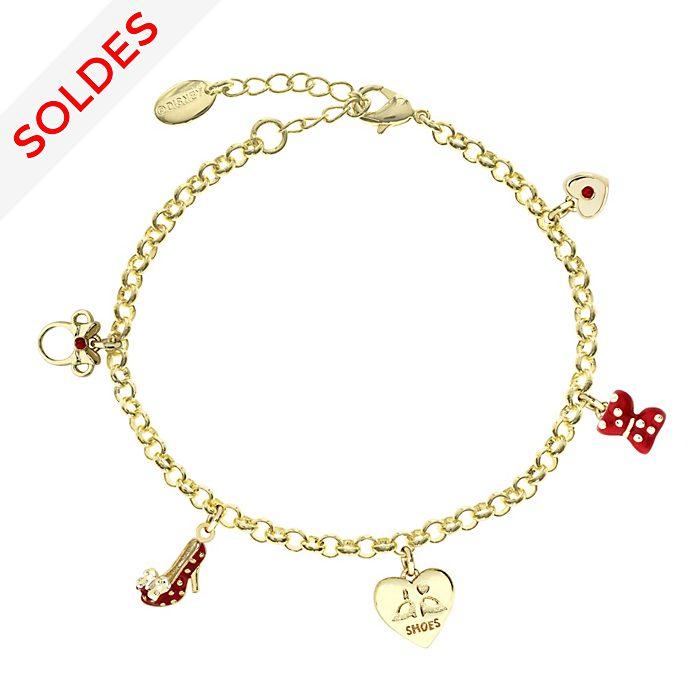 Bracelet Minnie Mouse plaqué or à breloque