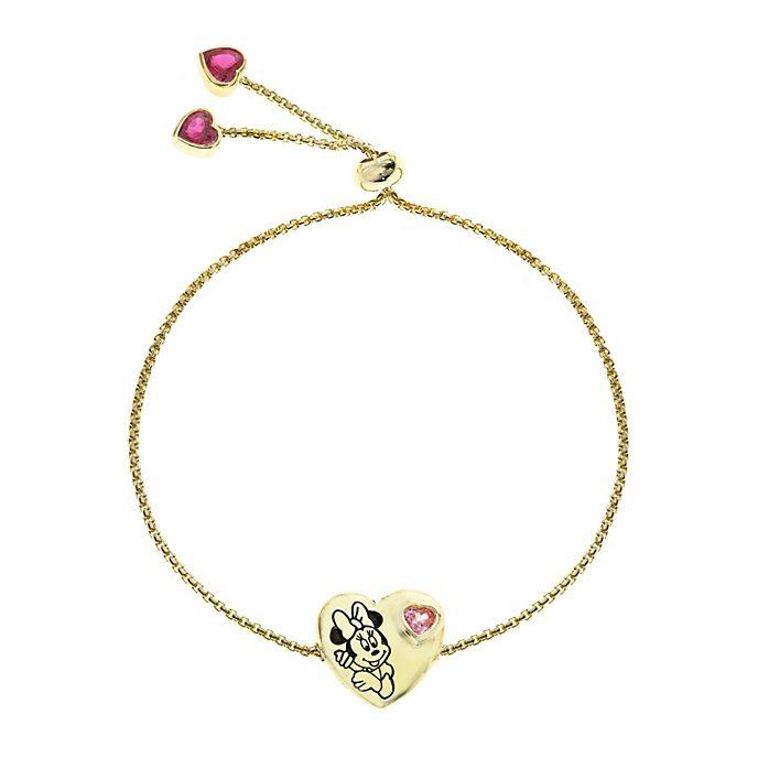 Bracelet Coeur de Minnie Mouse plaqué or à glissière