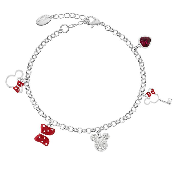 Mickey and Minnie Mouse Silver-Plated Charm Bracelet