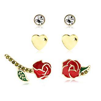 Rosa incantata, 3 paia di orecchini placcati oro