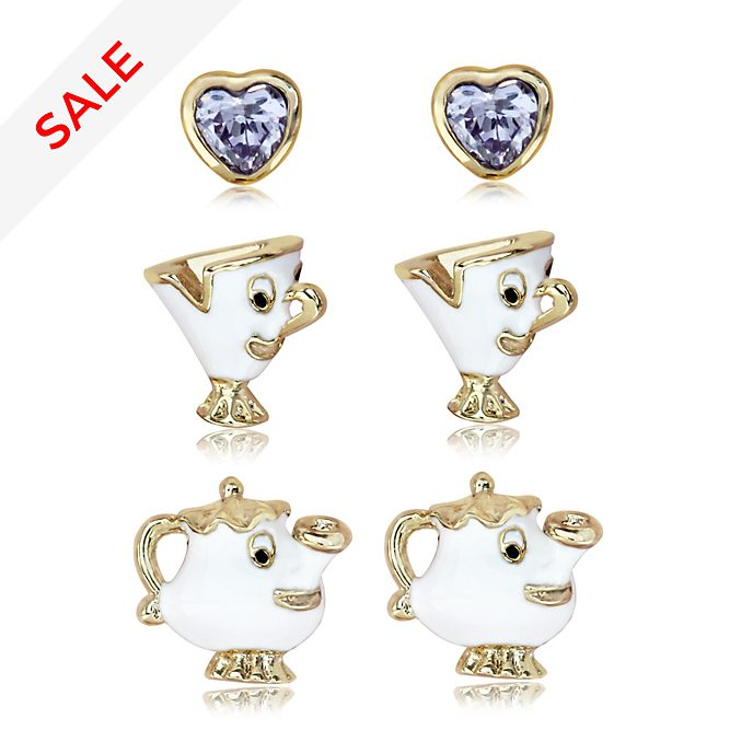 Mrs Potts and Chip Gold-Plated Earrings, Set of 3