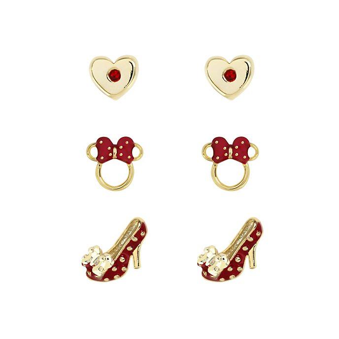 Lot de 3paires de boucles d'oreilles Minnie Mouse rouges plaquées or