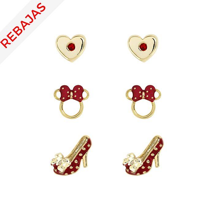 Pendientes rojos bañados en oro Minnie, juego de 3 pares