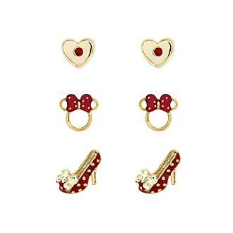 Minnie Mouse Gold-Plated Red Earrings, Set of 3