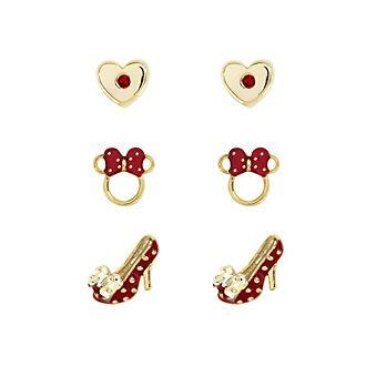 Minni, 3 paia di orecchini rossi placcati oro
