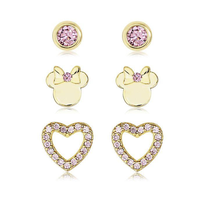 Lot de 3paires de boucles d'oreilles Minnie Mouse roses plaquées or