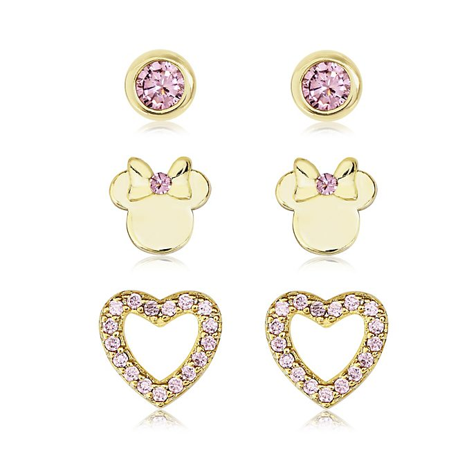 Minnie Mouse Gold-Plated Pink Earrings, Set of 3